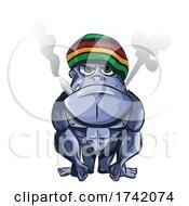 Tough Rasta Gorilla Smoking a Doobie by Domenico Condello #COLLC1742074-0191