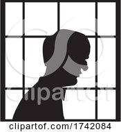 Poster, Art Print Of Silhouetted Lonely Senior Man In A Window