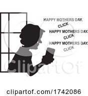04/22/2021 - Silhouetted Lonely Senior Woman In A Window Seeing Mothers Day Greetings On Social Media