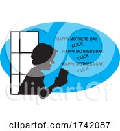 04/22/2021 - Silhouetted Crying Senior Woman In A Window Seeing Mothers Day Greetings On Social Media