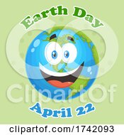 Happy Globe Mascot Character With Earth Day April 22 Text On Green