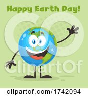 Waving Globe Mascot Character With Happy Earth Day Text On Green
