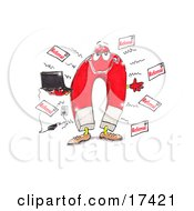 Red Magnet Holding A Laptop Computer That Is Plugged Into An Electrical Socket And Attracting Referrals Clipart Illustration