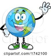 Poster, Art Print Of Waving Earth Globe Mascot Character