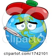Sick Earth Globe Mascot Character