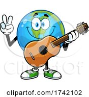 Earth Globe Mascot Characte Holding A Guitar