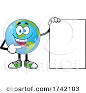 Happy Earth Globe Mascot Character Pointing To A Sign