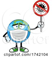 Earth Globe Mascot Character Wearing A Mask And Holding A Virus Sign