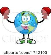 Boxer Earth Globe Mascot Character