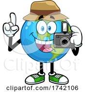 Photographer Earth Globe Mascot Character