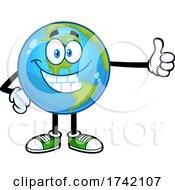 Happy Earth Globe Mascot Character Giving A Thumb Up