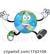 Poster, Art Print Of Happy Earth Globe Mascot Character Running