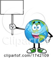 Happy Earth Globe Mascot Character Holding A Sign