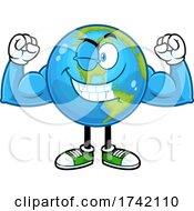 Flexing Earth Globe Mascot Character