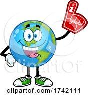 Happy Earth Globe Mascot Character Wearing A Foam Finger