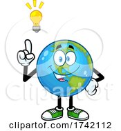 Poster, Art Print Of Happy Earth Globe Mascot Character With An Idea