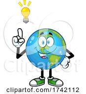 Happy Earth Globe Mascot Character With An Idea