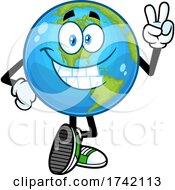 Happy Earth Globe Mascot Character Gesturing Peace