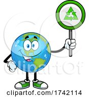 Poster, Art Print Of Happy Earth Globe Mascot Character Holding A Recycle Sign
