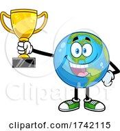 Happy Earth Globe Mascot Character Holding A Trophy