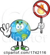 Earth Globe Mascot Character Holding A No Fire Sign