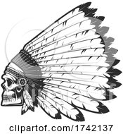 Poster, Art Print Of Native Skull With Feather Headdress
