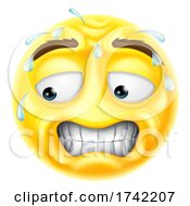 Worried Sweating Scared Emoticon Cartoon Face Icon