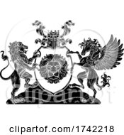 Poster, Art Print Of Coat Of Arms Pegasus Lion Crest Shield Family Seal