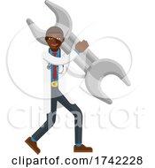 Black Doctor Man Holding Spanner Wrench Mascot