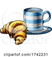 Croissant And Coffee Tea Cup Mug Woodcut