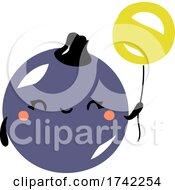 Cute Black Currant Holding A Balloon