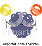 Cute Blackberry Holding Balloons