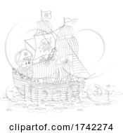 04/27/2021 - Boy And Parrot On A Pirate Ship Behind A Shark