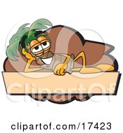 Clipart Picture Of A Palm Tree Mascot Cartoon Character Over A Blank Tan Business Label by Toons4Biz