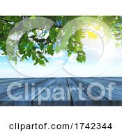 Poster, Art Print Of 3d Trees And Wooden Table Looking Out To A Blue Sky