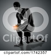 3D Male Figure Holding Knee In Pain