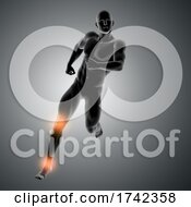 3D Male Figure Running With Knee And Ankle Highlighted