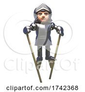 Poster, Art Print Of 3d Medieval Knight In Shining Armour Walking On Stilts