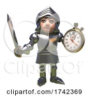 Poster, Art Print Of 3d Medieval Knight In Shining Armour Cartoon Character Holding A Sword And Stopwatch