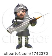3d Medieval Knight In Shining Armour Cartoon Character Holding A Vaccine Syringe