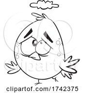 Cartoon Black And White Unhappy Bird