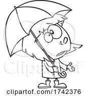 Cartoon Black And White Girl Ready For Spring Rain