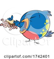 Cartoon Bird Eating A Worm Sandwich