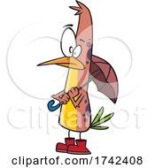 Cartoon Shower Ready Bird With An Umbrella