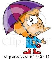 Cartoon Girl Ready For Spring Rain