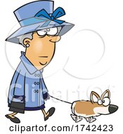 Cartoon Corgi Lady Walking Her Dog