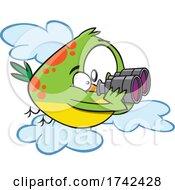 Cartoon Bird Using Binoculars