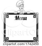 Chef Cook Baker Cartoon Man Menu Sign Background