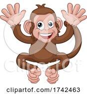 Monkey Cartoon Character Animal Mascot Waving