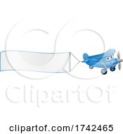 Airplane Pulling Banner Cartoon Character